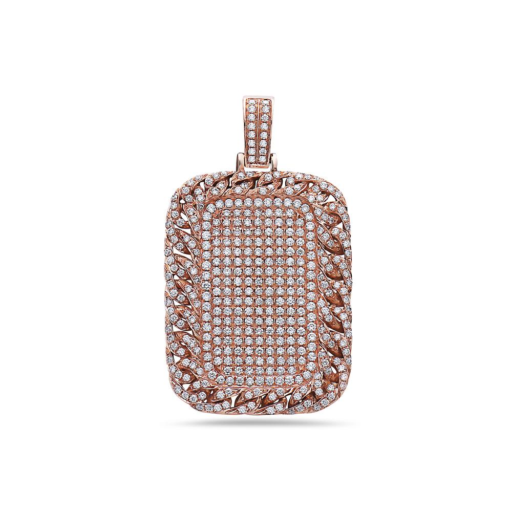 14K Rose Gold Curb Link Pendant with 4.50 CT Diamonds