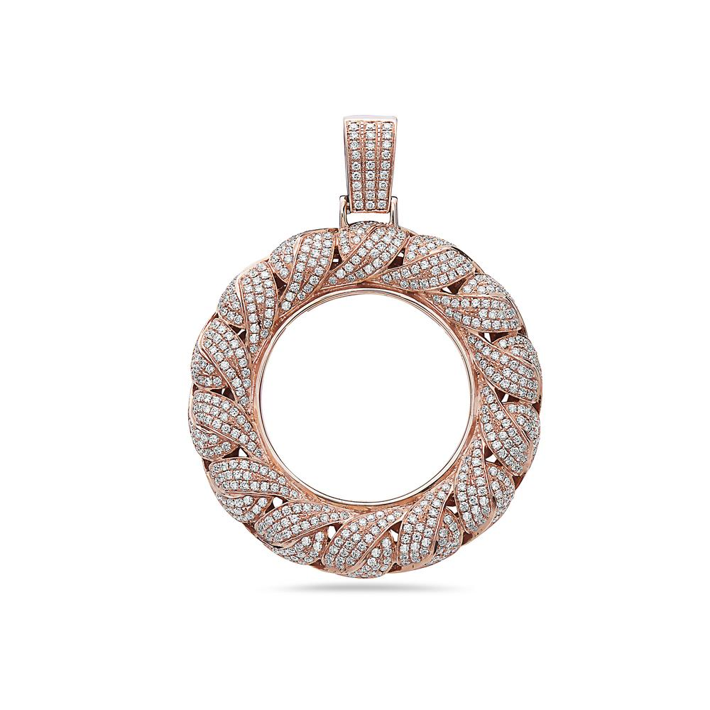 Men's 14K Rose Gold Torus Pendant with 6.26 CT Diamonds