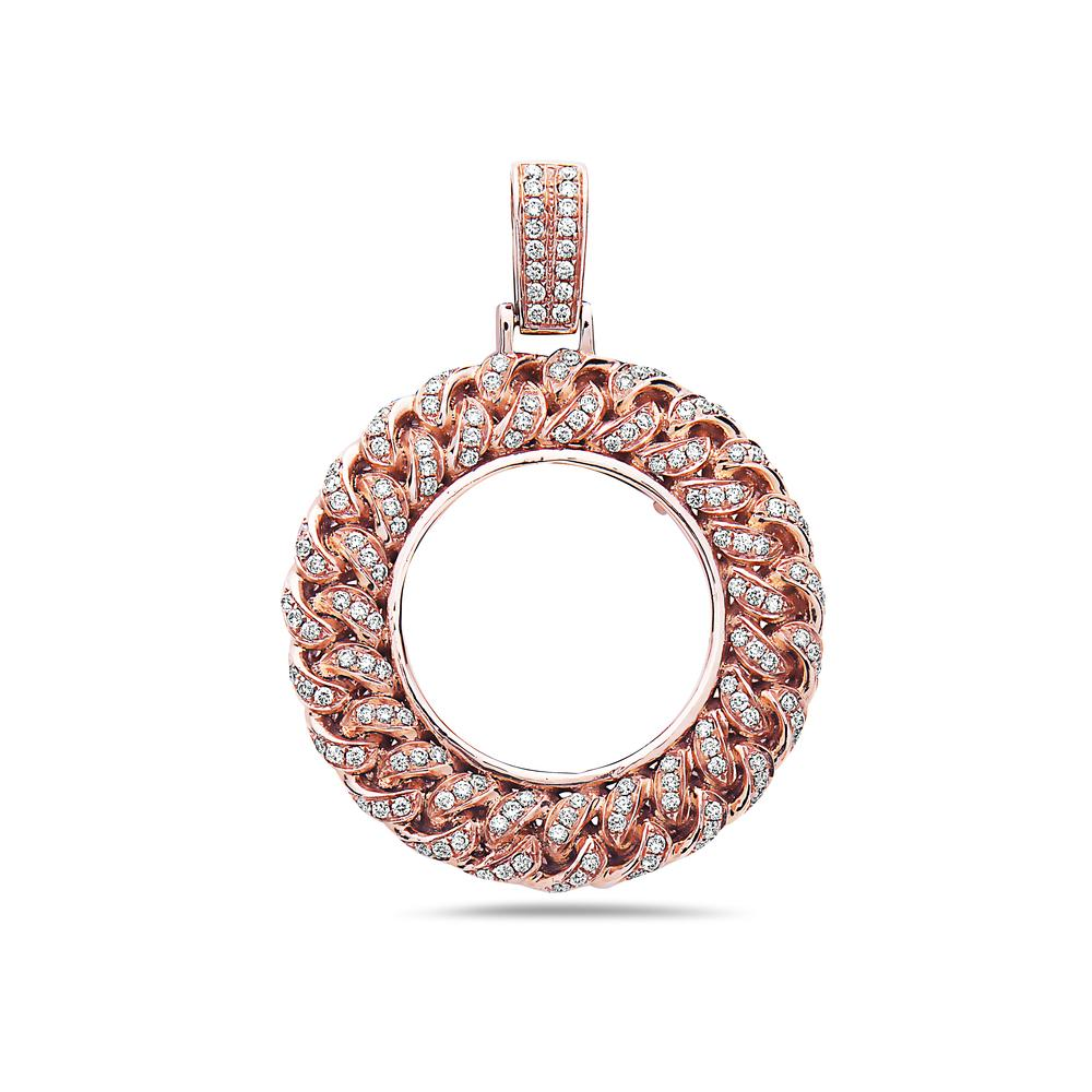 14K Rose Gold Donut Women's Pendant With 1.45 CT Diamonds