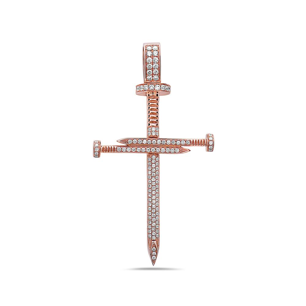 Unisex 14K Rose Gold Cross Pendant With 1.35 CT Diamonds