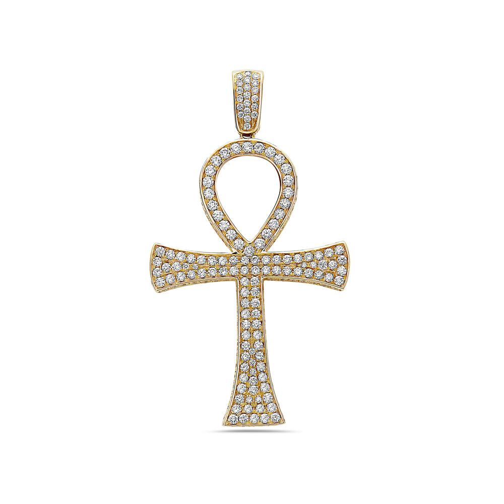 Unisex 14K Yellow Gold Pendant with 6.42 CT Diamonds