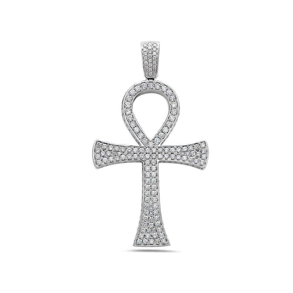 Unisex 14K White Gold Pendant with 7.08 CT Diamonds