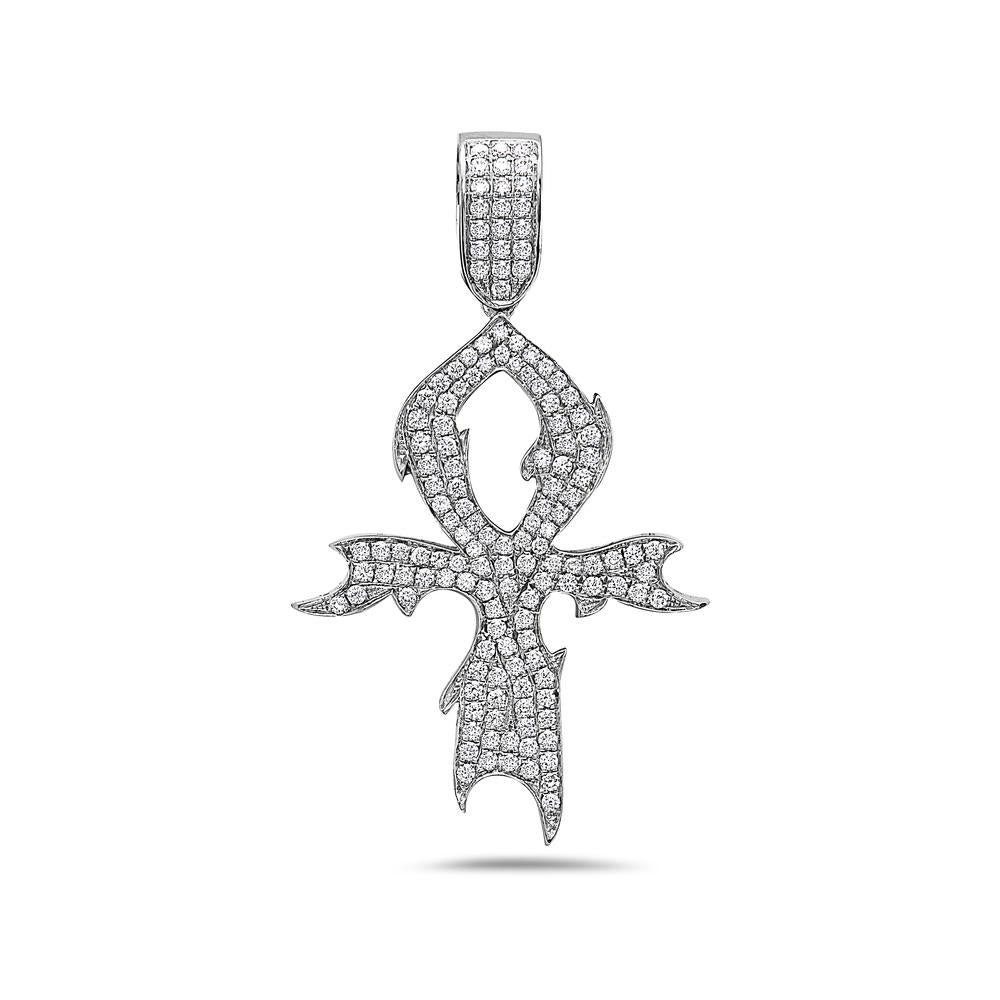 Men's 14K White Gold Tribal Pendant with 1.38 CT Diamonds