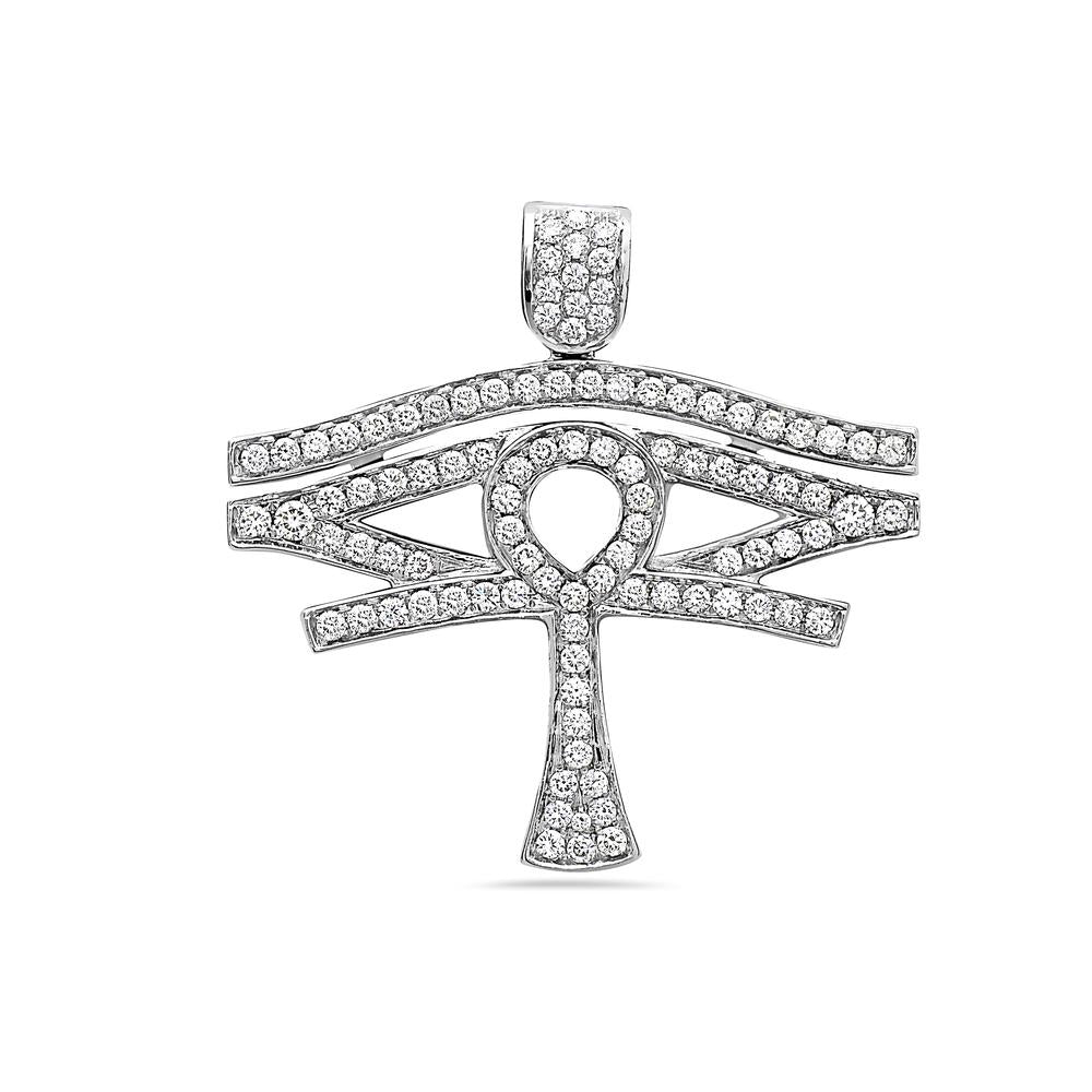 Unisex 14K White Gold Eye of Horus Ankh Pendant with 1.95 CT Diamonds