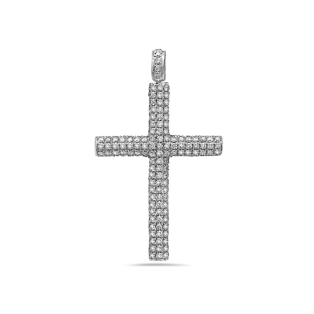 Unisex 14K White Gold Cross Women's Pendant With 4.09 CT Diamonds
