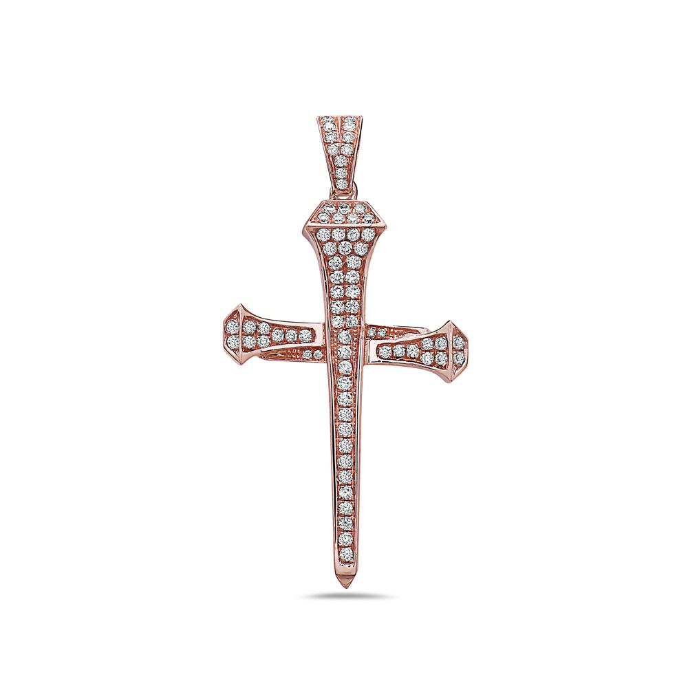 Unisex 14K Rose Gold Cross of Nails Pendant with 0.65 CT Diamonds