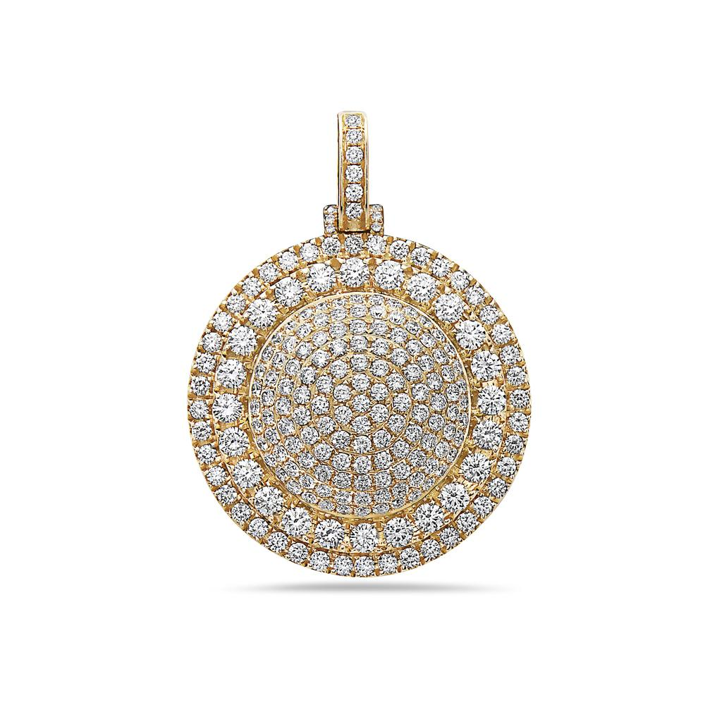 14K Yellow Gold Circle Pendant with 6.48 CT Diamonds