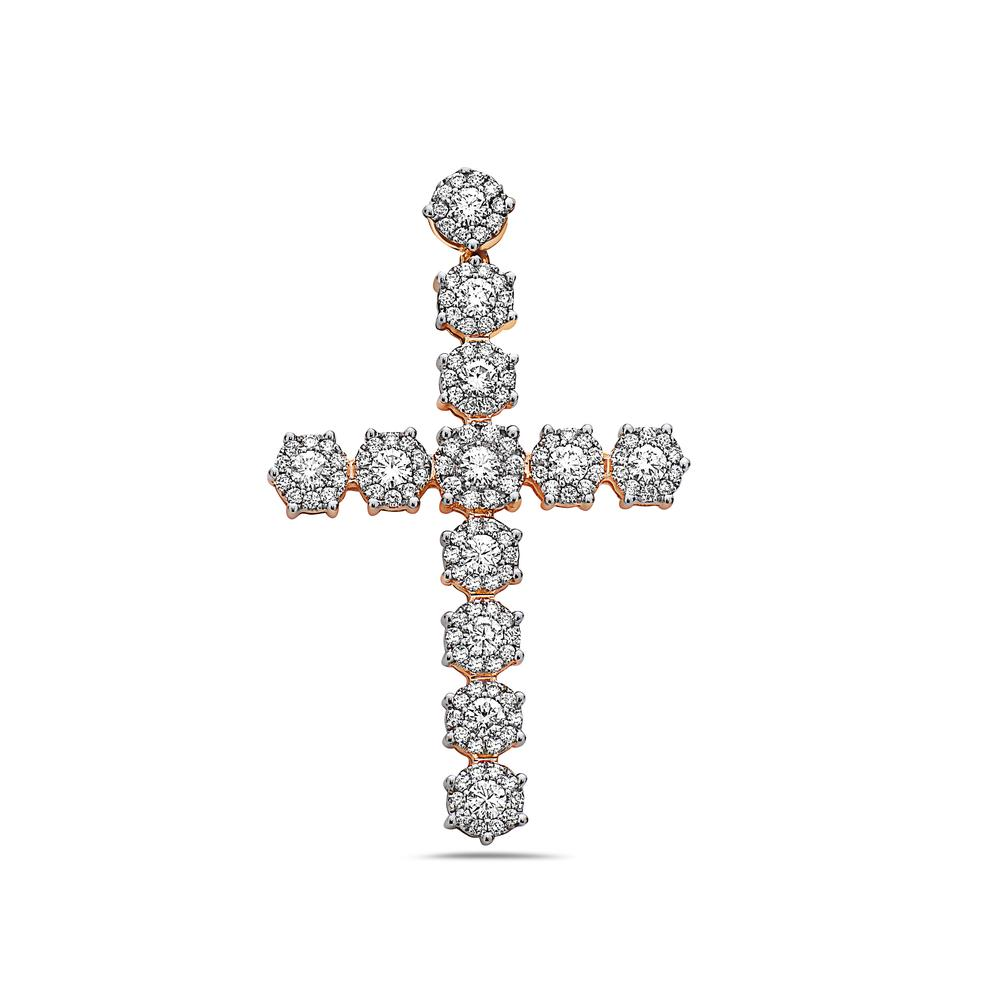 Unisex 14K Rose Gold Cross Pendant With 5.15 CT Diamonds