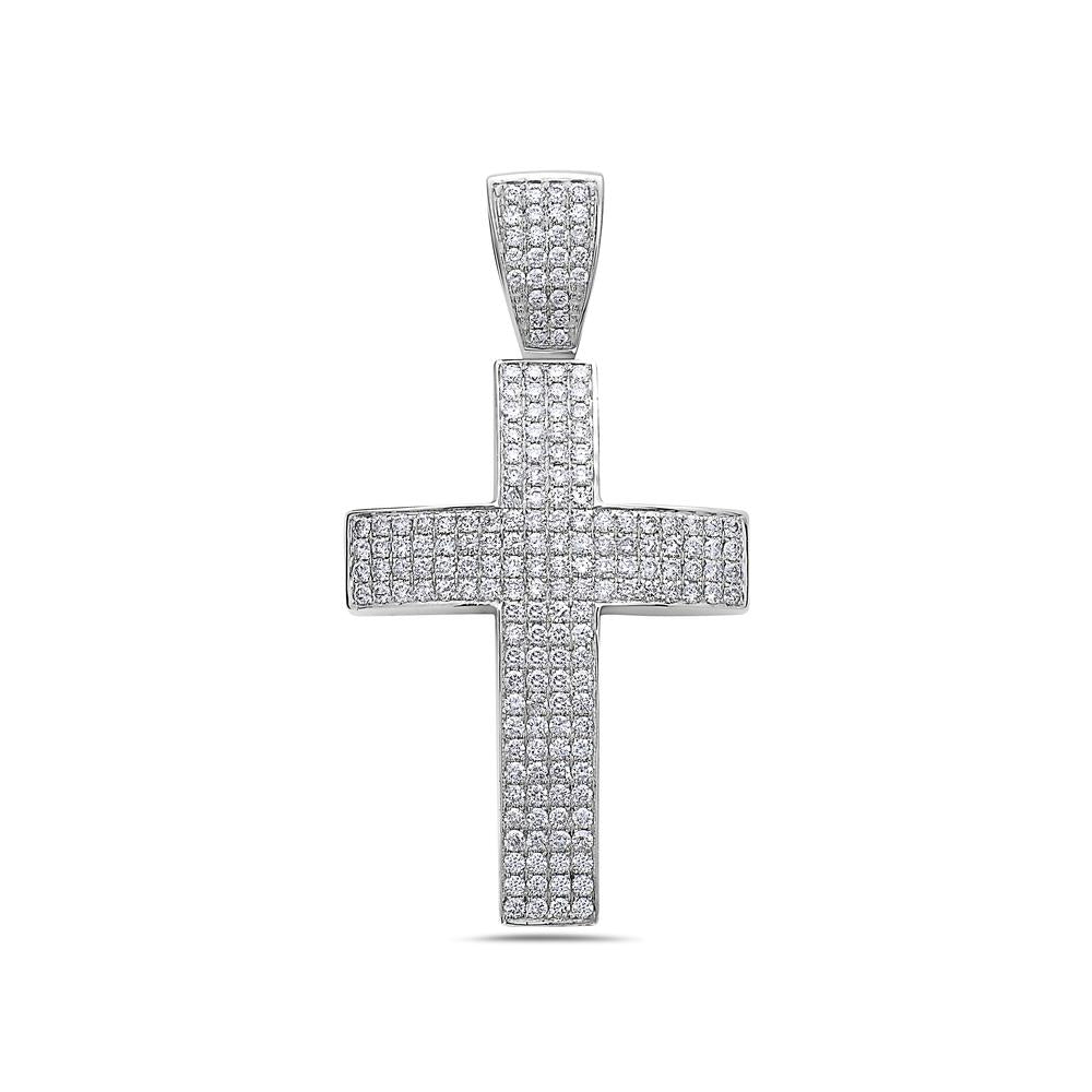 14K White Gold Cross Pendant with 2.35 CT Diamonds