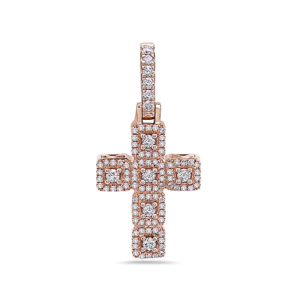 Unisex 14K Rose Gold Cross Pendant with 0.47 CT Diamonds