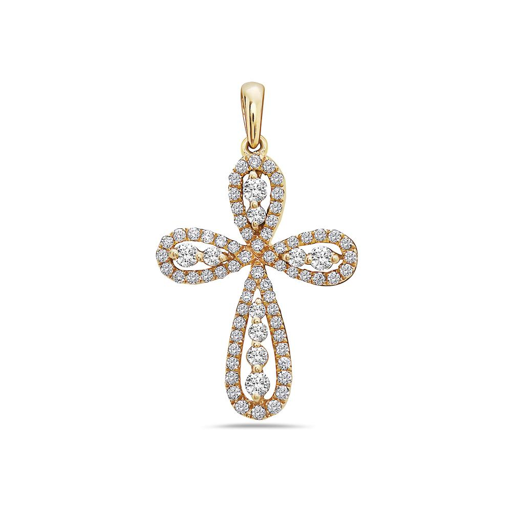 18K Yellow Gold Cross Pendant with 0.48 CT Diamonds