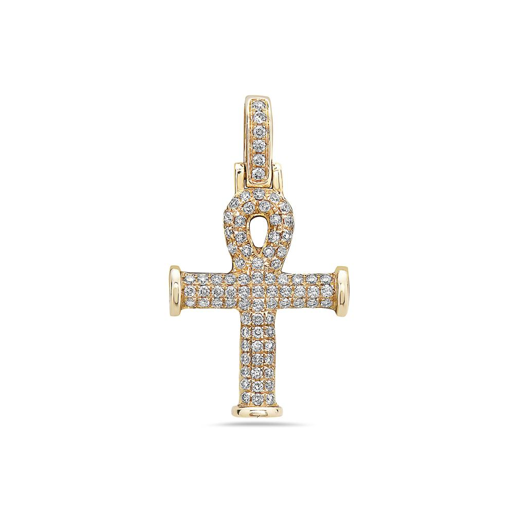 14K Yellow Gold Ankh Pendant with 0.38 CT Diamonds