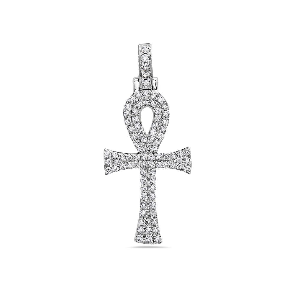 Unisex 14K White Gold Ankh Pendant with 0.40 CT Diamonds