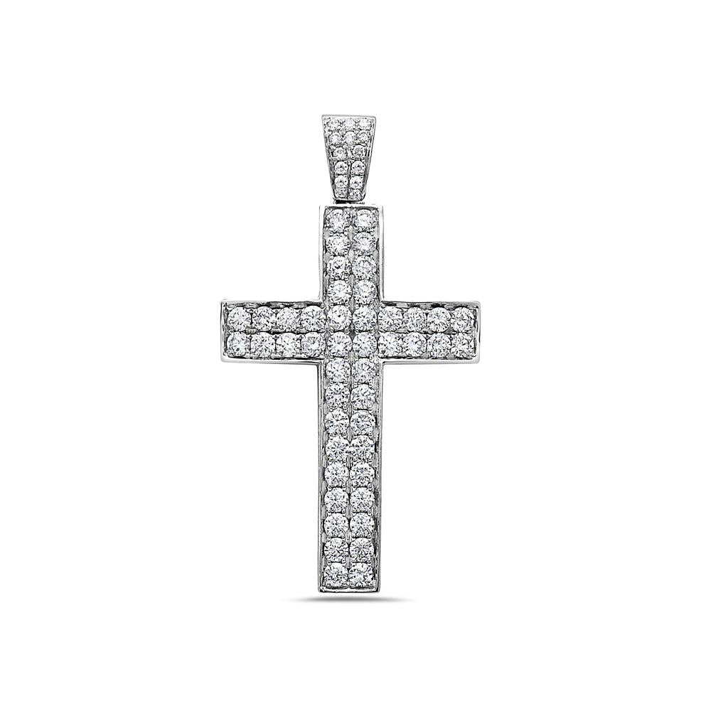 14K White Gold Cross Pendant with 3.05 CT Diamonds
