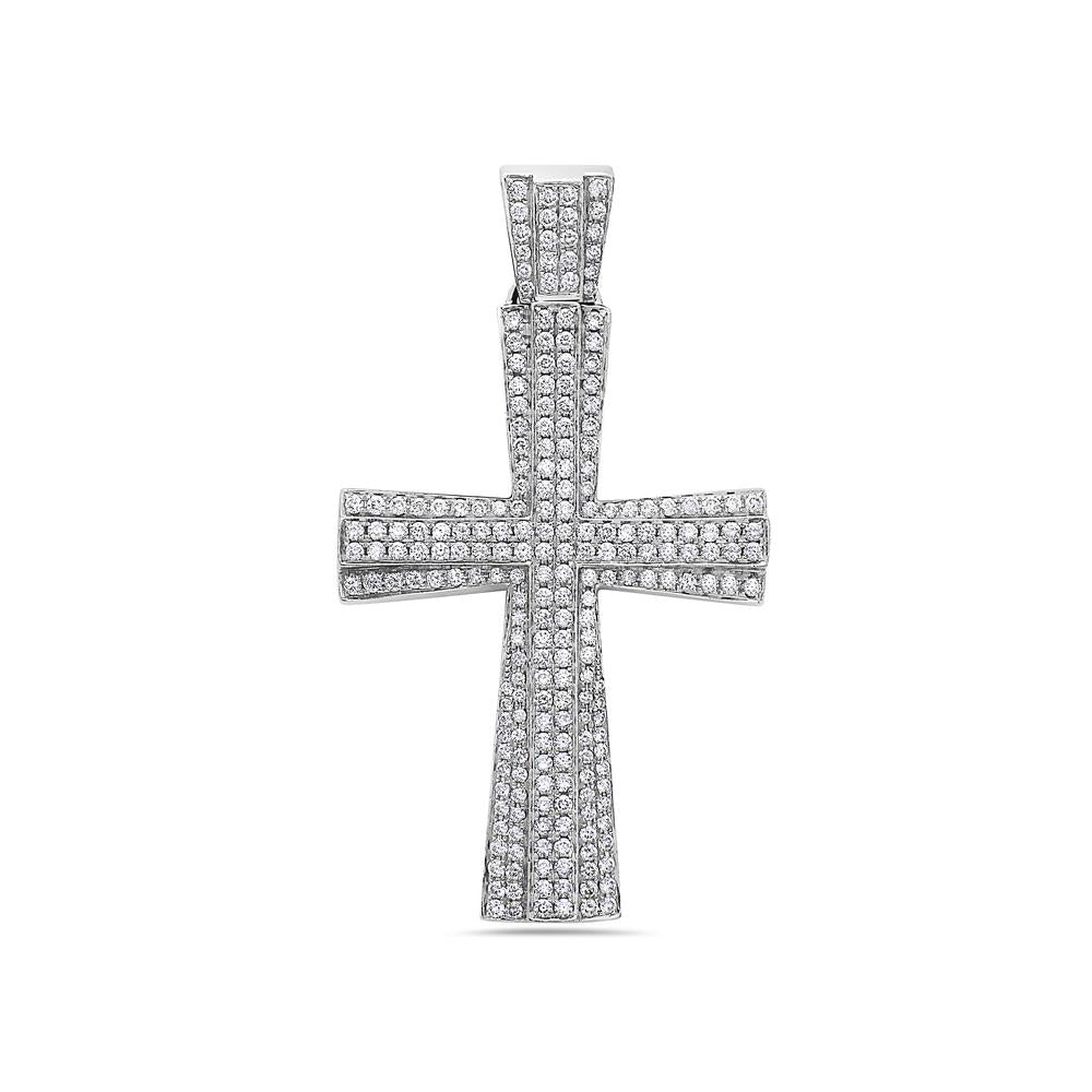 14K White Gold Cross Pendant with 3.59 CT Diamonds