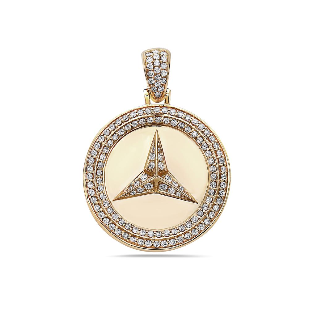 Unisex 14K Yellow Gold Mercedes Pendant with 2.02 CT Diamonds