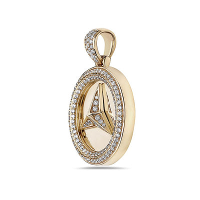 Men's 14K Yellow Gold Mercedes Pendant with 2.02 CT Diamonds