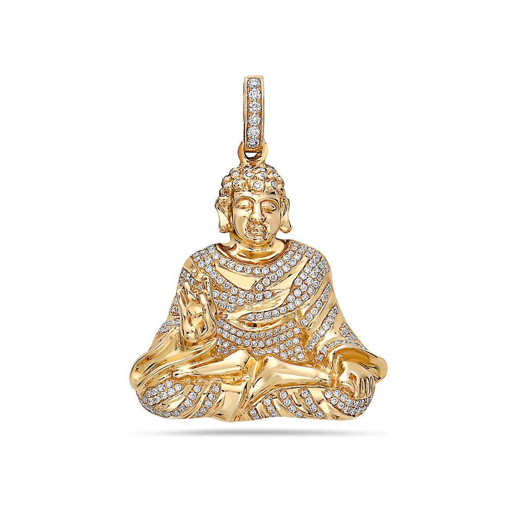 14K Yellow Gold Buddha Figure Women's Pendant with 1.15CT Diamonds