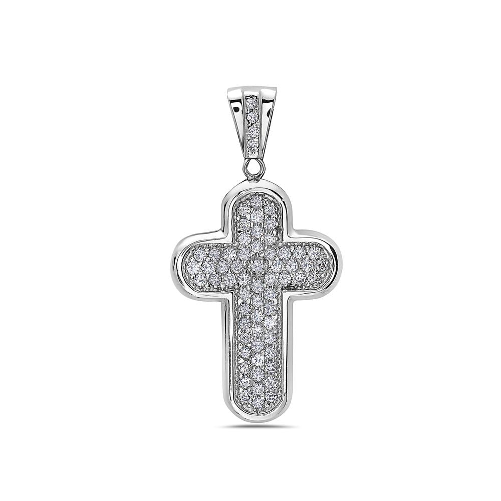 Unisex 14K White Gold Rounded Cross Women's Pendant with 4.0CT Diamonds