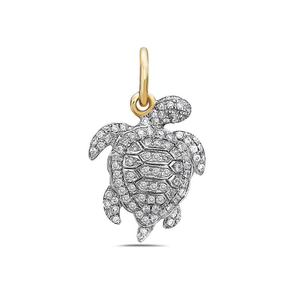 14K White Gold Turtle Women's Pendant with 0.46CT Diamonds