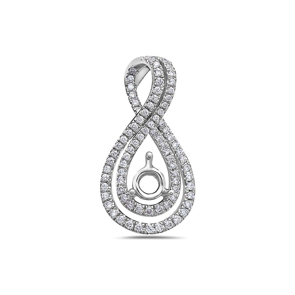18K White Gold Floating Bow Women's Pendant with 0.50CT Diamonds