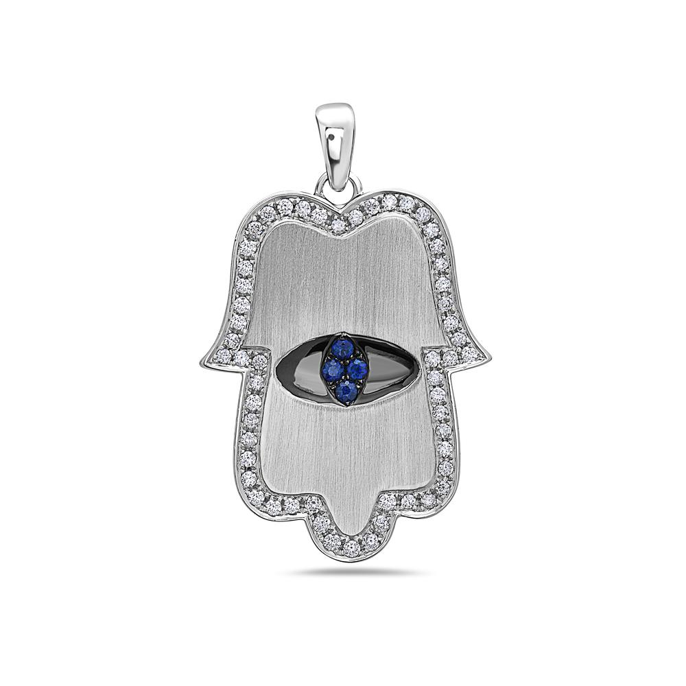 "18K White Gold ""Hamsa"" Women's Pendant with 0.55CT Diamonds & 0.15CT SAP"