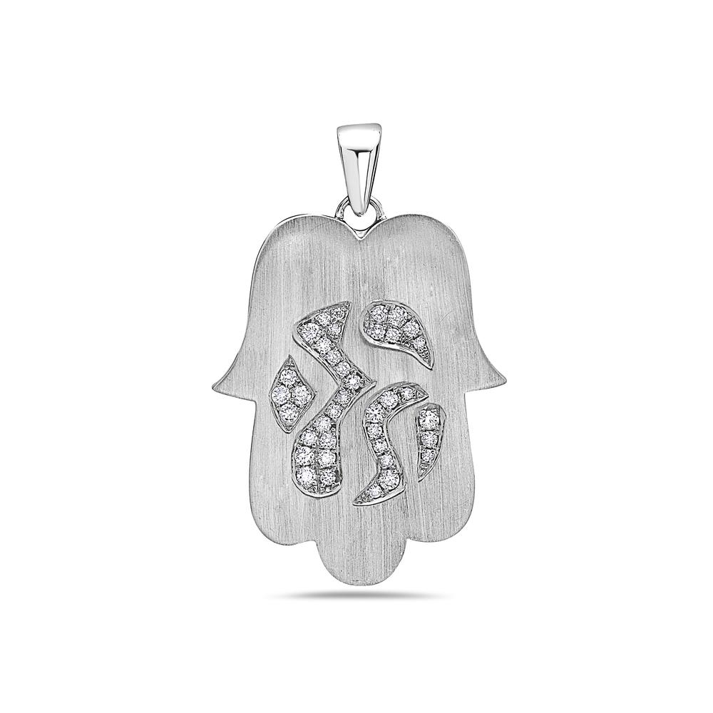 "18K White Gold ""Hamsa"" Women's Pendant with 0.40CT Diamonds"