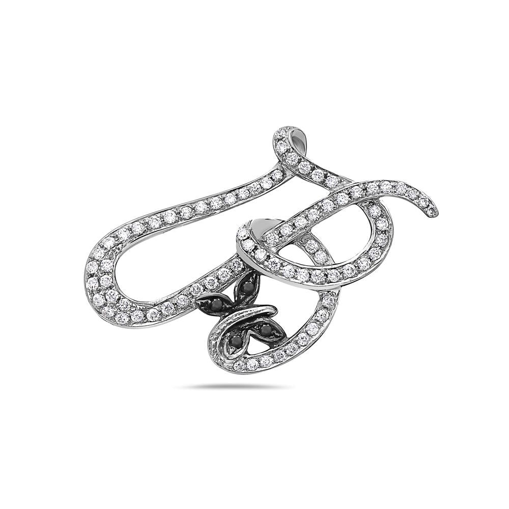 14K White Gold Heart Knot Women's Pendant with 0.75CT Diamonds