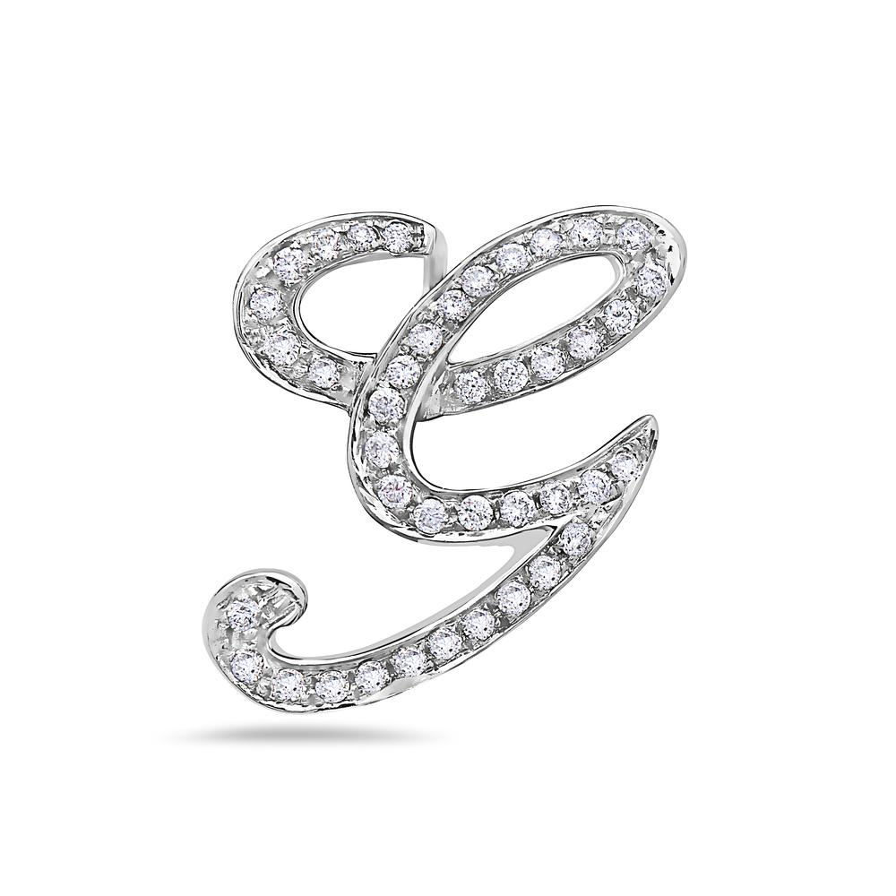 "14K White Gold Letter ""G"" Women's Pendant with 0.36CT Diamonds"