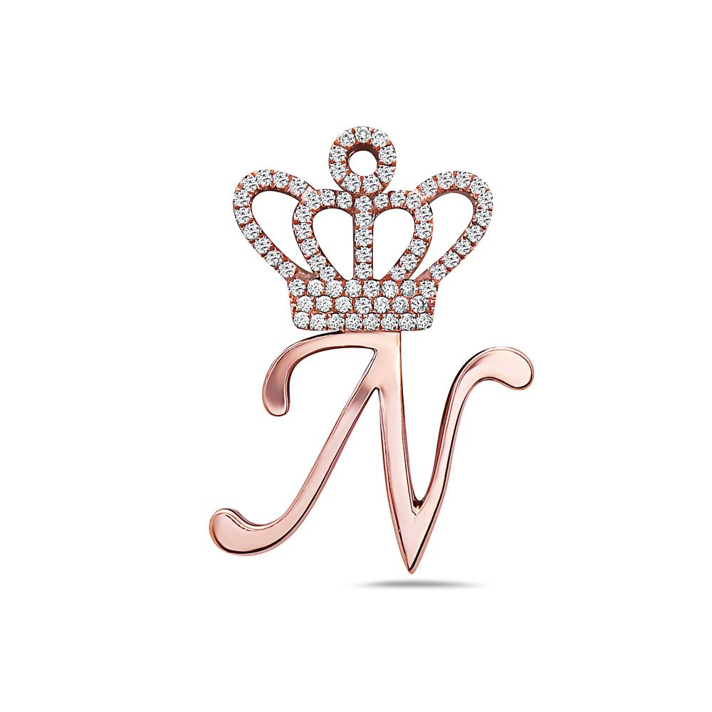 "18K Rose Gold Letter ""N"" with Crown Women's Pendant with 0.45CT Diamonds"