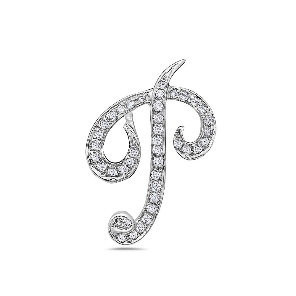 "14K White Gold Letter ""P"" Women's Pendant with 0.30CT Diamonds"