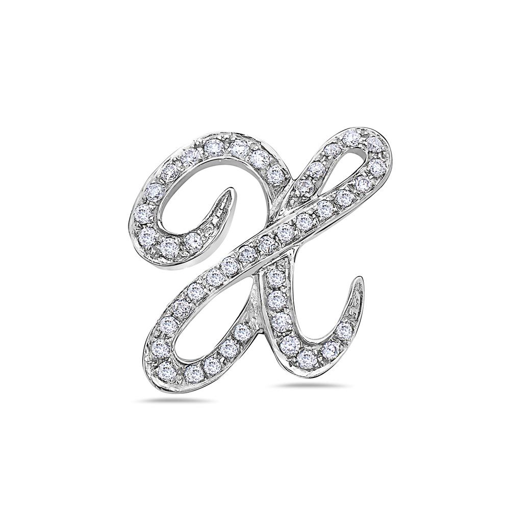"14K White Gold Letter ""X"" Women's Pendant with 0.35CT Diamonds"