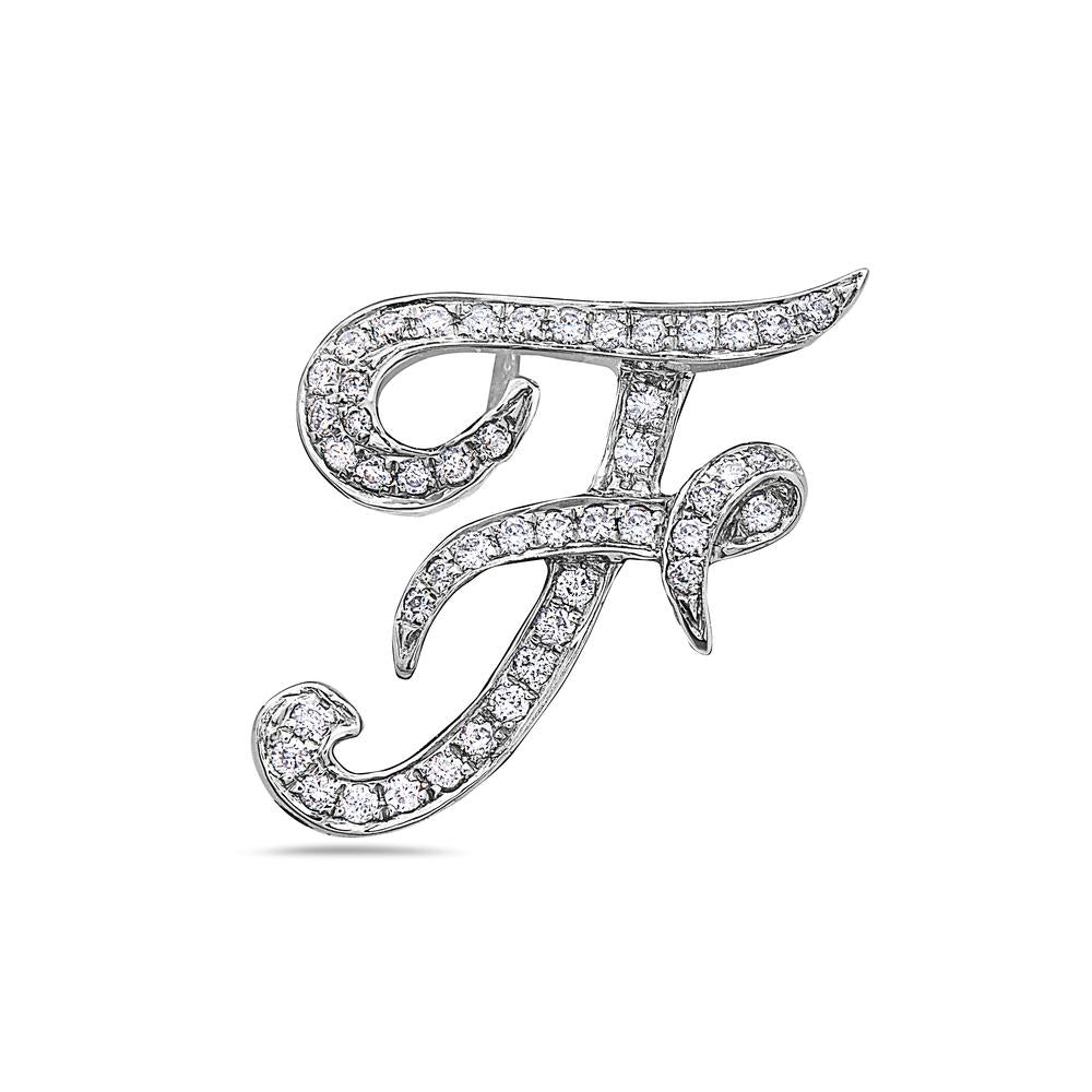 "14K White Gold Letter ""F"" Women's Pendant with 0.35CT Diamonds"