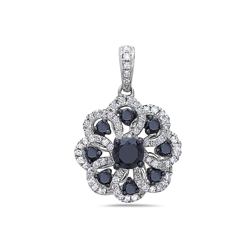 14K White Gold Flower Women's Pendant with 1.05CT Diamonds