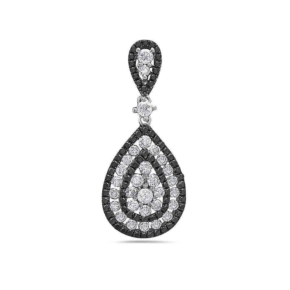 14K White Gold Black & White Drop Women's Pendant with 1.40CT Diamonds