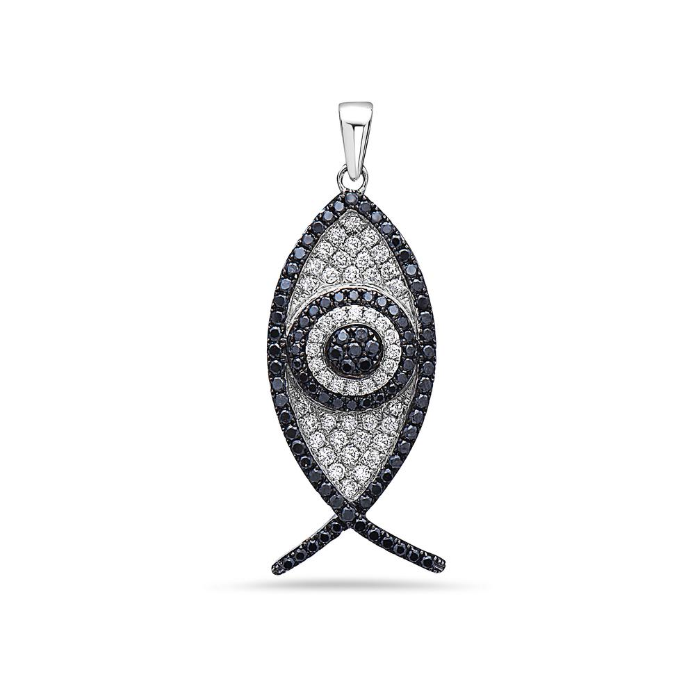 18K White Gold Black & White Fish Women's Pendant with 1.30CT Diamonds