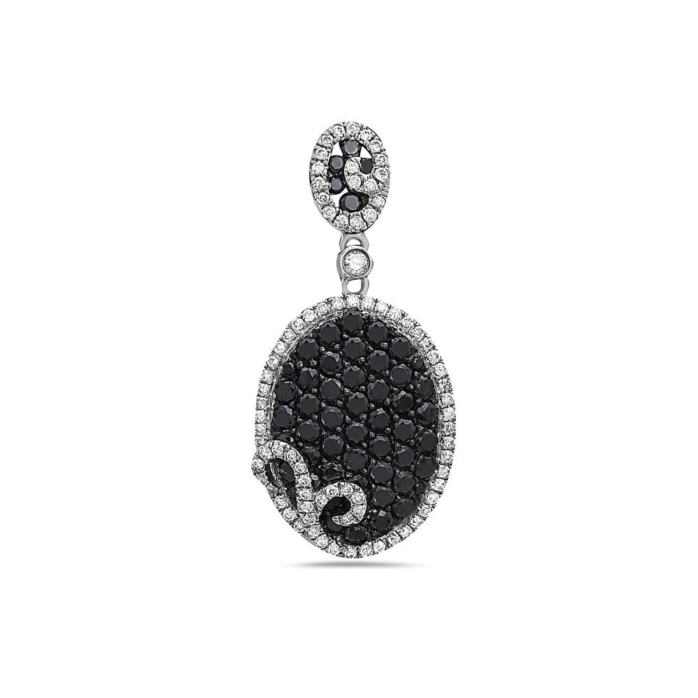 14K White Gold Oval Women's Pendant with 1.59CT Diamonds