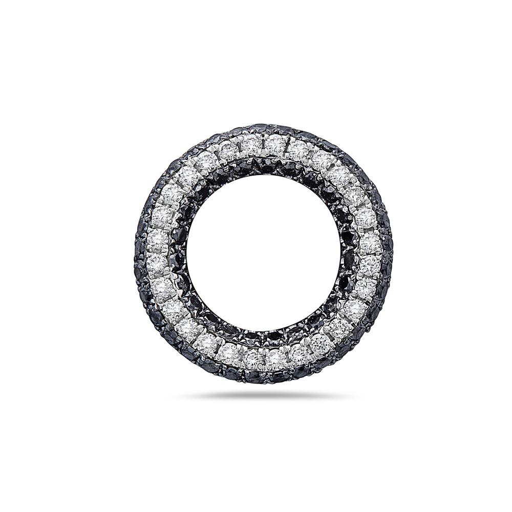 18K White Gold Floating Donut Women's Pendant with 0.74CT Diamonds