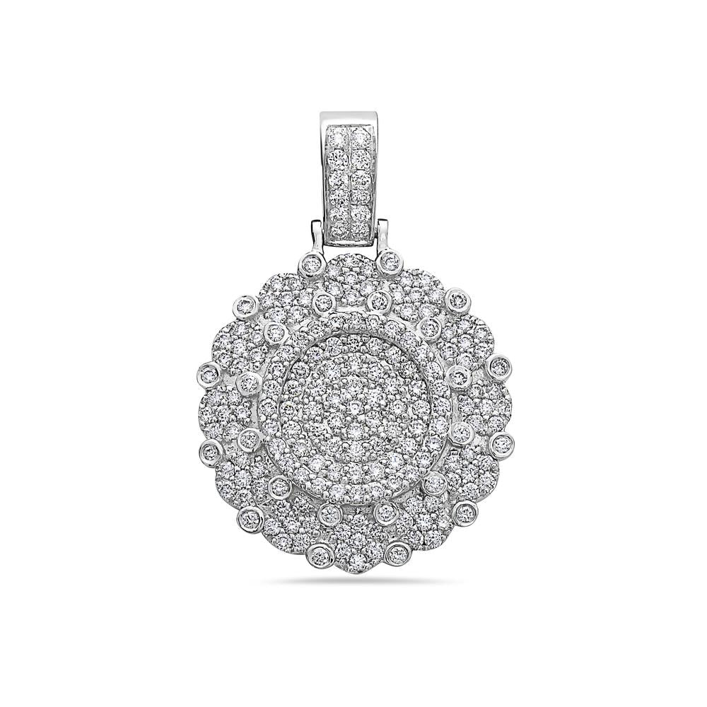 Men's 14K White Gold Circle Pendant with 2.15 CT Diamonds
