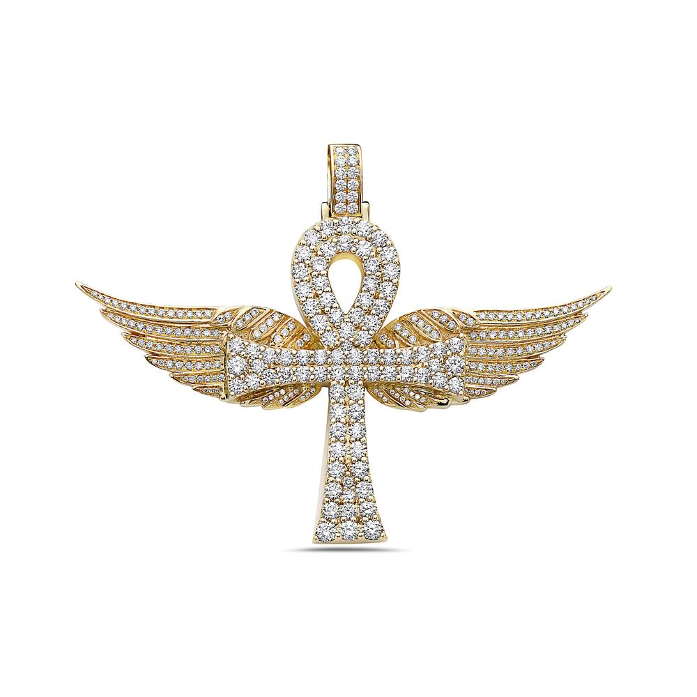 Men's 14K Yellow Gold Ankh with Wings Pendant with 7.78 CT Diamonds