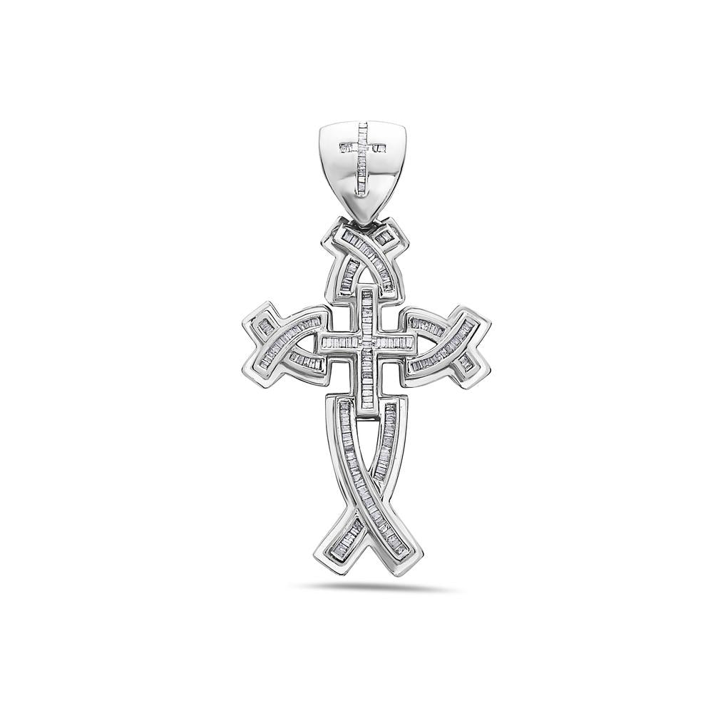 Unisex 14K White Gold Cross Pendant with 2.00 CT Diamonds