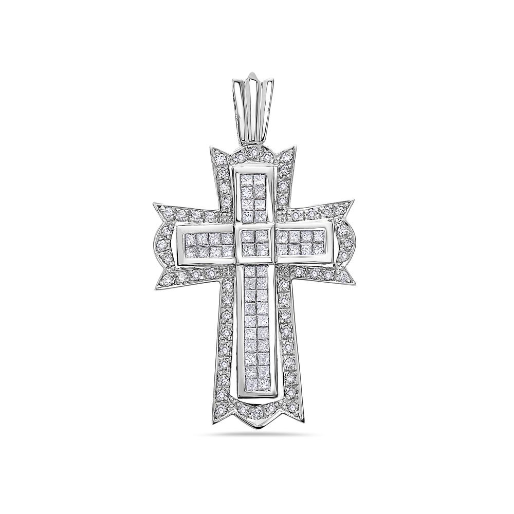 Unisex 14K White Gold Cross Pendant with 2.25 CT Diamonds