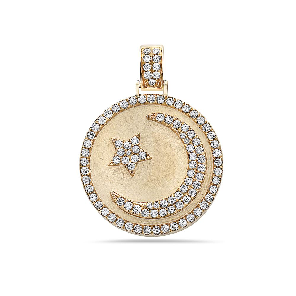 Men's 14K Yellow Gold Islam Pendant with 1.17 CT Diamonds