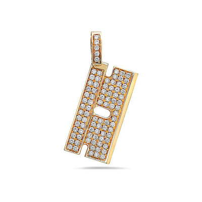 14K Yellow Gold Rectangle Shape Women's Pendant with 1.02CT Diamonds