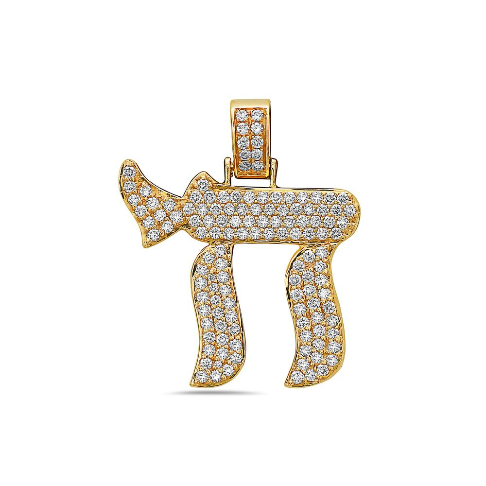 14K Yellow Gold Symbol Women's Pendant with 1.41CT Diamonds