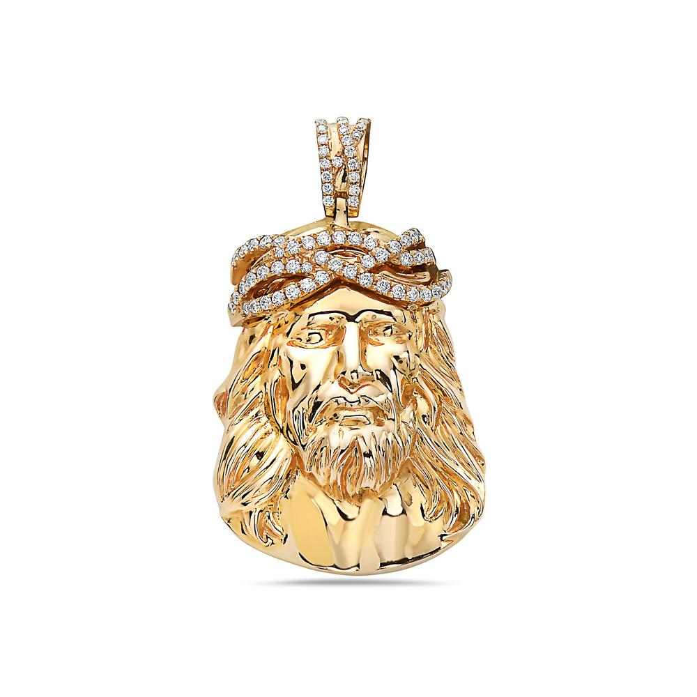 14K Yellow Gold Jesus Head Women's Pendant with 1.38CT Diamonds