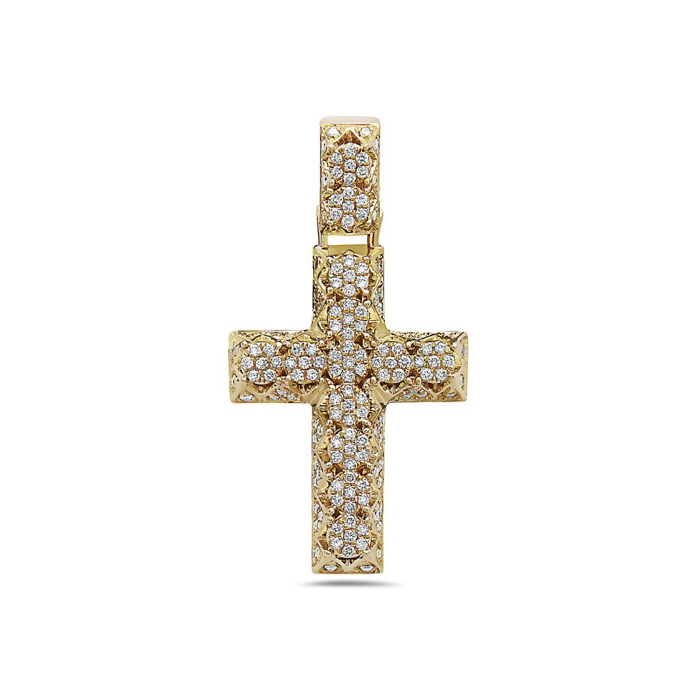Unisex 14K Yellow Gold Cross Pendant with 0.60 CT Diamonds