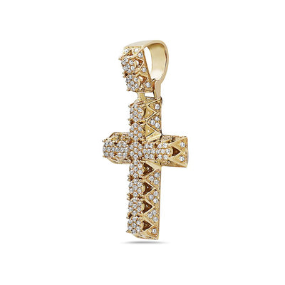 14K Yellow Gold Cross Pendant with 0.60 CT Diamonds