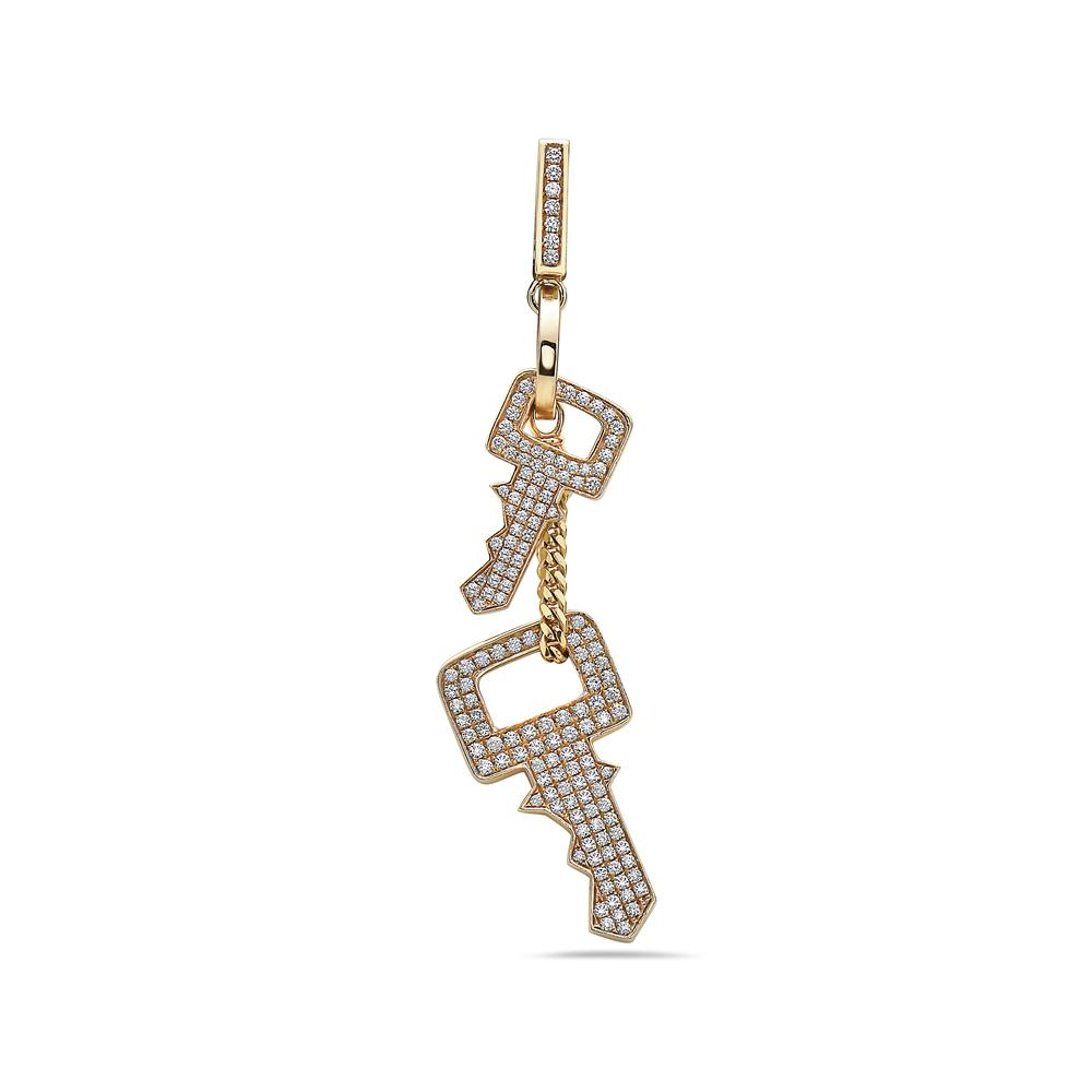 Men's 14K Yellow Gold Keys Pendant with 5.65 CT Diamonds