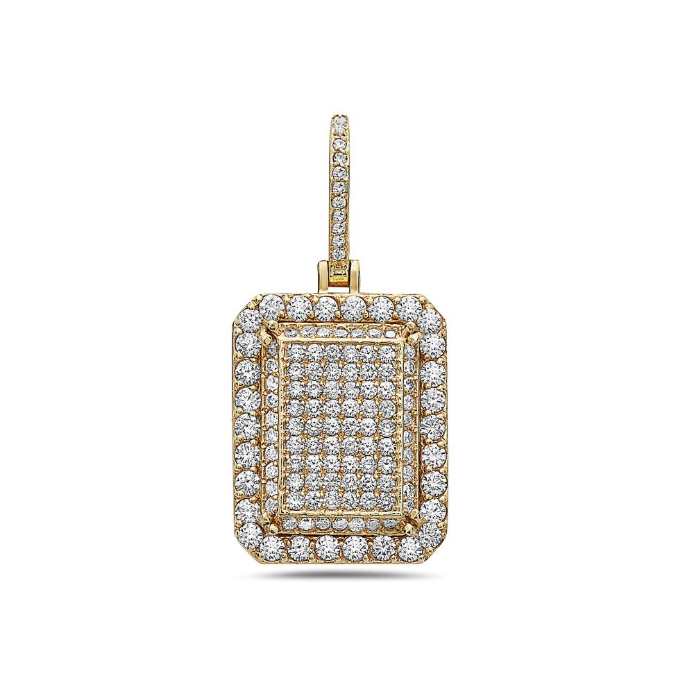 Men's 14K Yellow Gold Box Pendant with 5.80 CT Diamonds